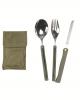 Vojaški 3 delni zložljivi jedilni pribor s torbico za okoli pasu