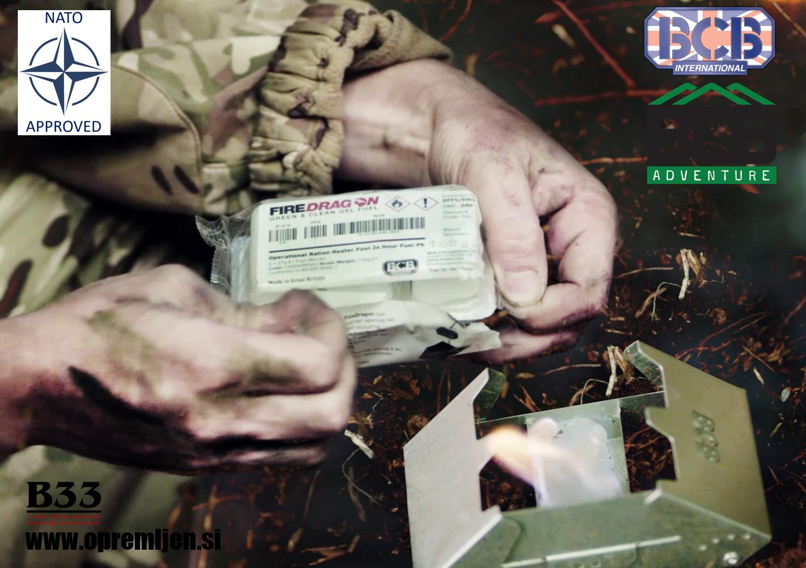 Vojaški zložljivi gorilnik FireDragon na gorilne tablete BCB International by B33 army shop at www.opremljen.si, trgovina z vojaško opremo, vojaška trgovina