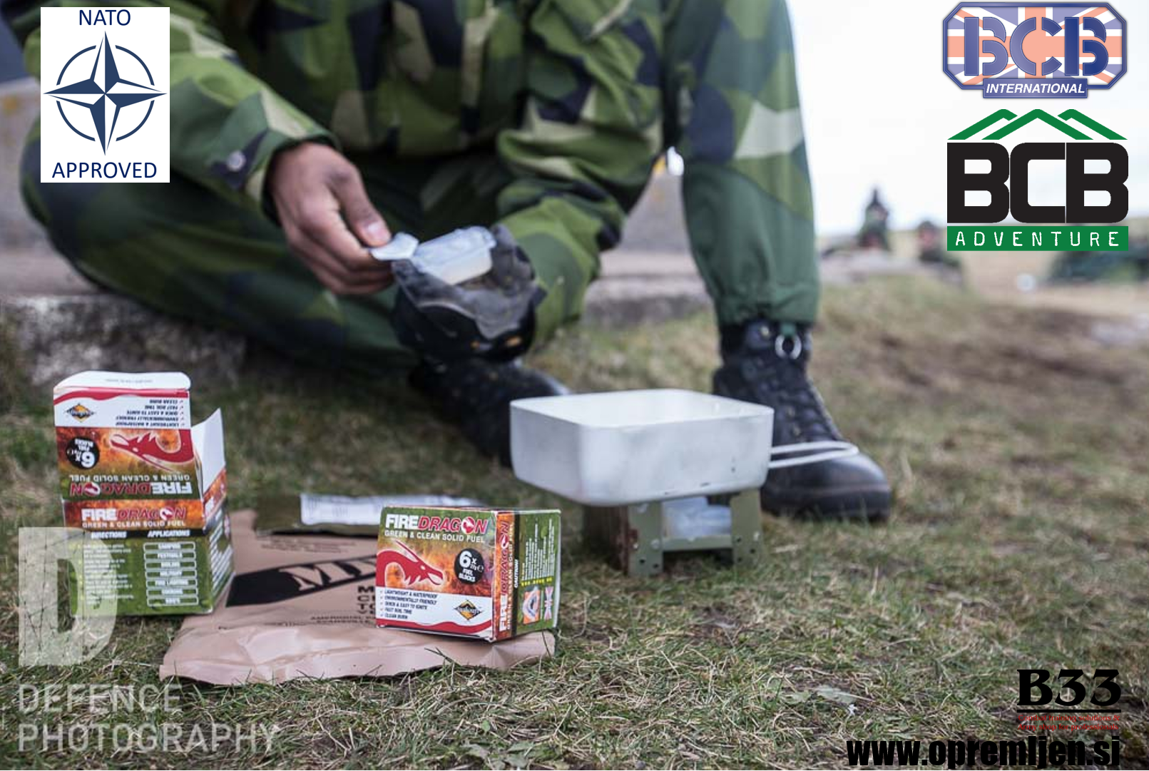 Vojaške all-weather bio gorilne tablete FireDragon iz etanola, pakiranje 6 kosov (NATO approved NSN: 9110-99-505-2835), BCB International, B33 army shop, vojaška trgovina, trgovina z vojaško opremo