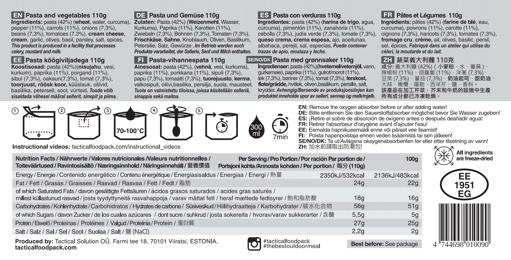 Dehidrirana hrana Tactical Foodpack - Pasta and Vegetables , B33 army shop at www.opremljen.si, trgovina z vojaško opremo, vojaška trgovina