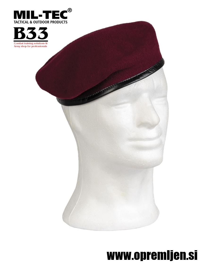 Vojaška beretka BW commando PLEIN CIEL bordo barve MILTEC by B33 army shop, trgovina z vojaško opremo, vojaška trgovina