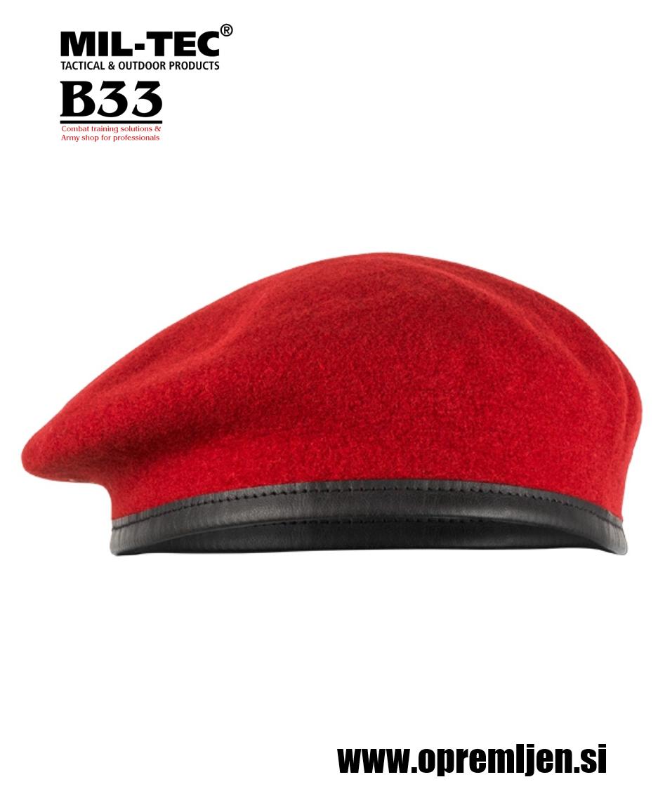 Vojaška beretka BW commando PLEIN CIEL koralno rdeče barve MILTEC by B33 army shop at www.opremljen.si, vojaška trgovina, trgovina z vojaško opremo