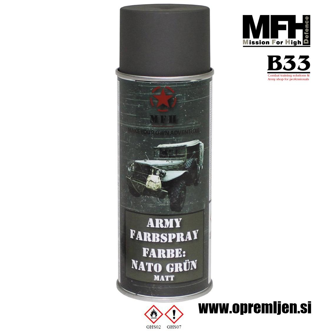 Vojaška barva sprej zelena NATO GREEN 400ml MFH - Max Fuchs by B33 army shop at www.opremljen.si