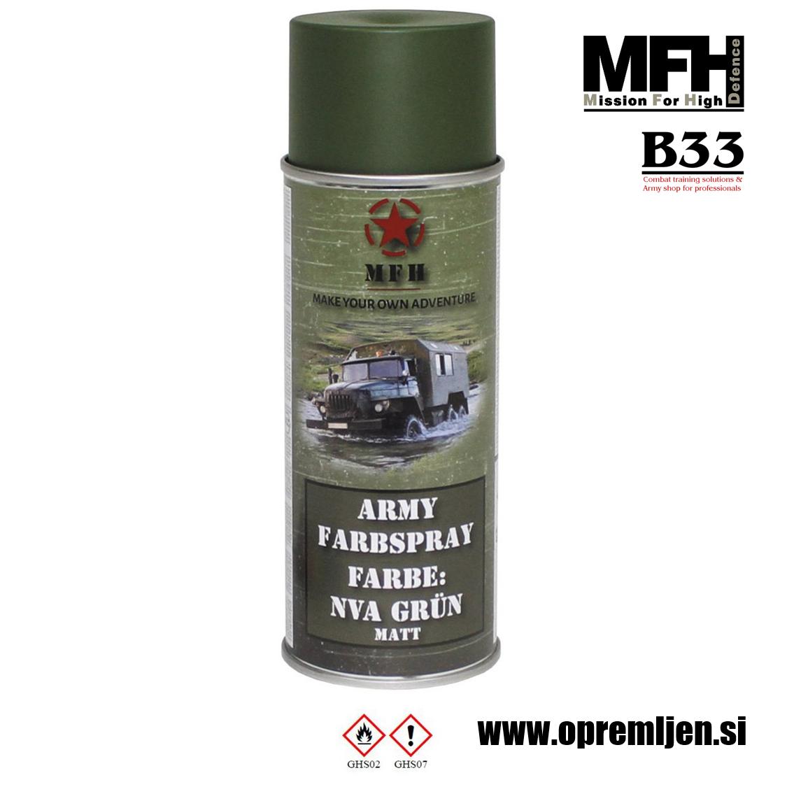 Vojaška barva sprej zelena NVA GREEN RAL6003 400ml MFH - Max Fuchs by B33 army shop at www.opremljen.s
