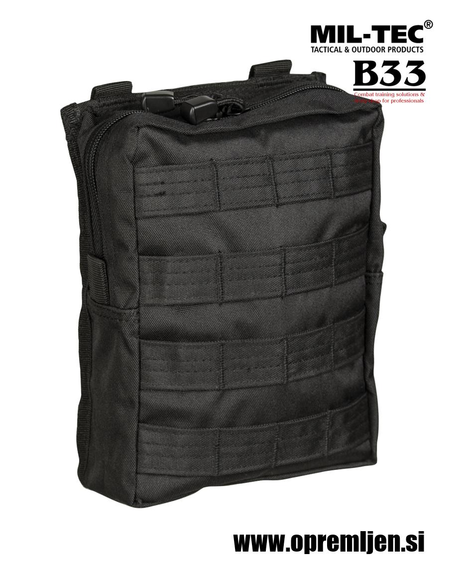Vojaška MOLLE taktična torbica large za okoli pasu oziroma za na opasač črne barve MILTEC by B33 army shop at www.opremljen.si (trgovina z vojaško opremo, vojaška trgovina)
