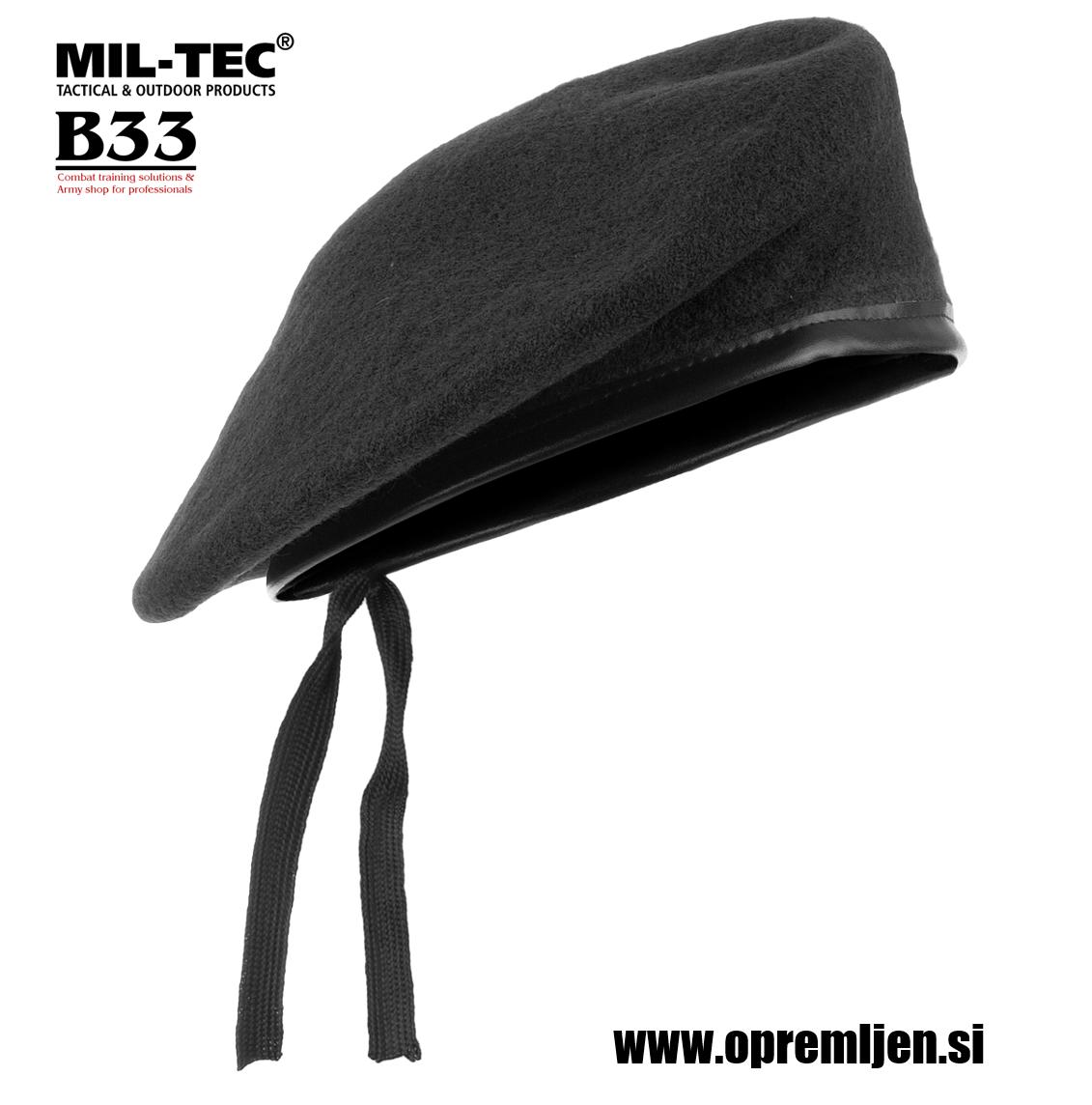 Vojaška beretka črne barve 100% volna MILTEC by B33 army shop at www.opremljen.si (trgovina z vojaško opremo, vojaška trgovina)