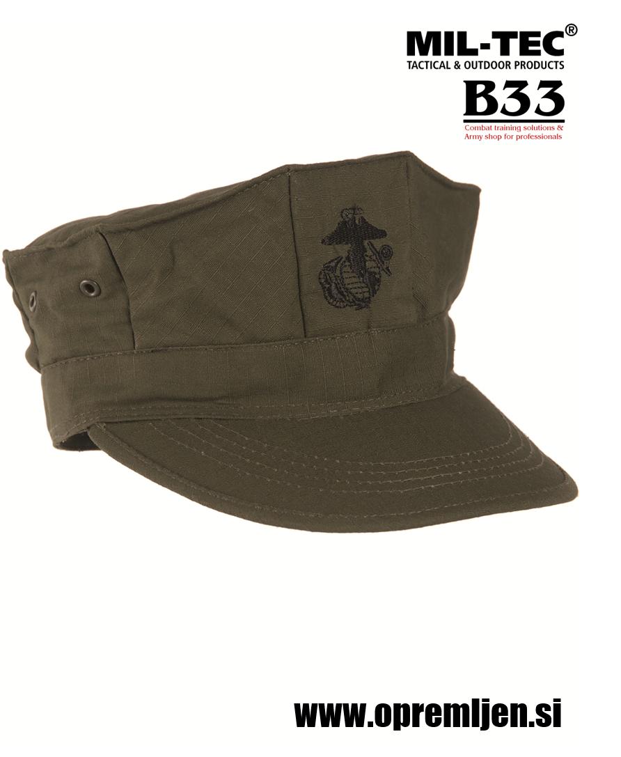Vojaška kapa US marine corps olivne barve by B33 army shop at www.opremljen.si trgovina z vojaško opremo, vojaška trgovina, MILTEC, MIL-TEC