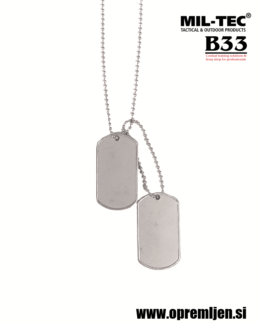 B33 army shop - US vojaška identifikacijska ploščica (dog tag) MILTEC, MIL-TEC opremite se na www.opremljen.si (vojaška trgovina, trgovina z vojaško opremo)