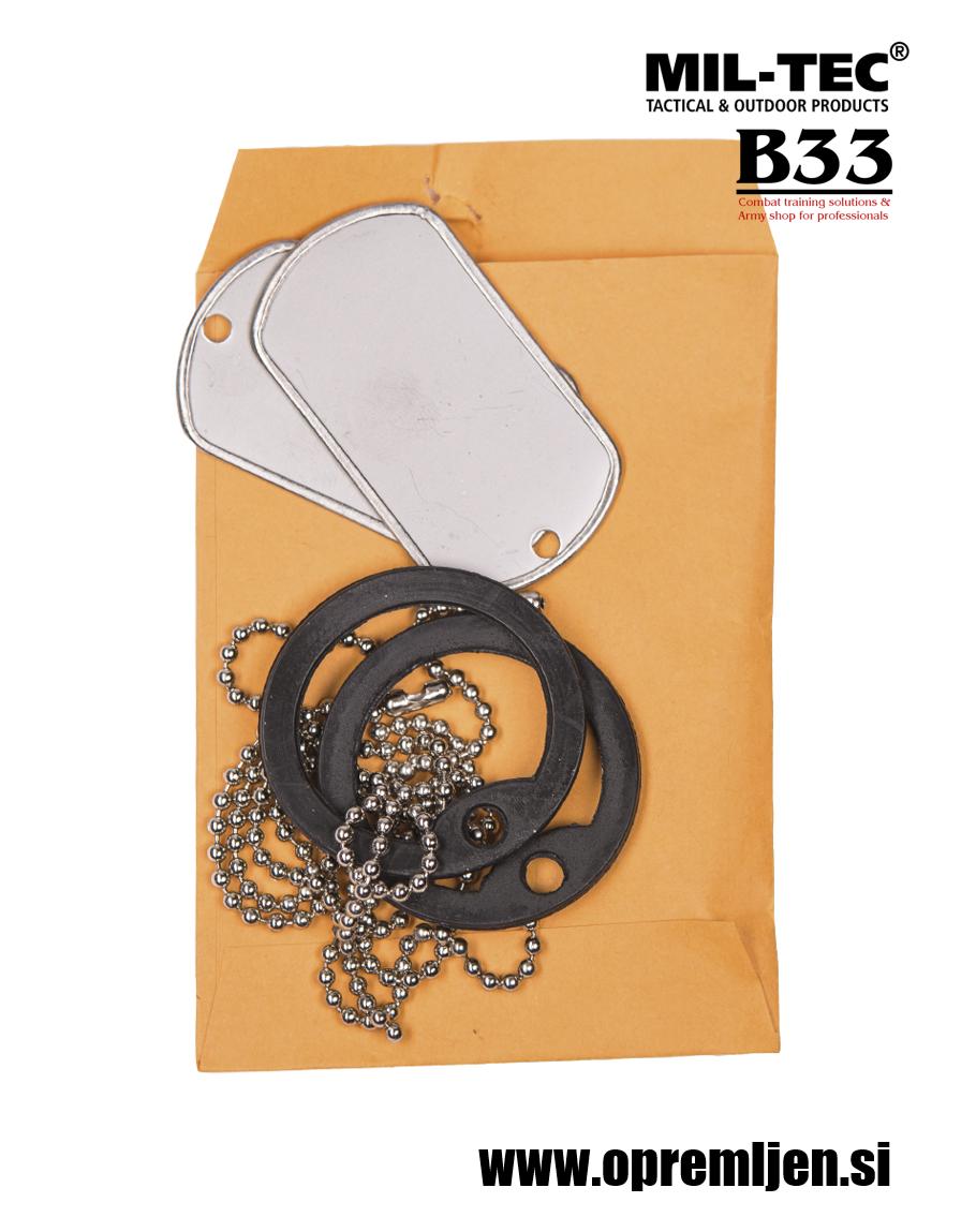 B33 army shop - vojaška identifikacijska ploščica (dog tag) MILTEC, MIL-TEC, opremite se na www.opremljen.si (trgovina z vojaško opremo, vojaška trgovina)
