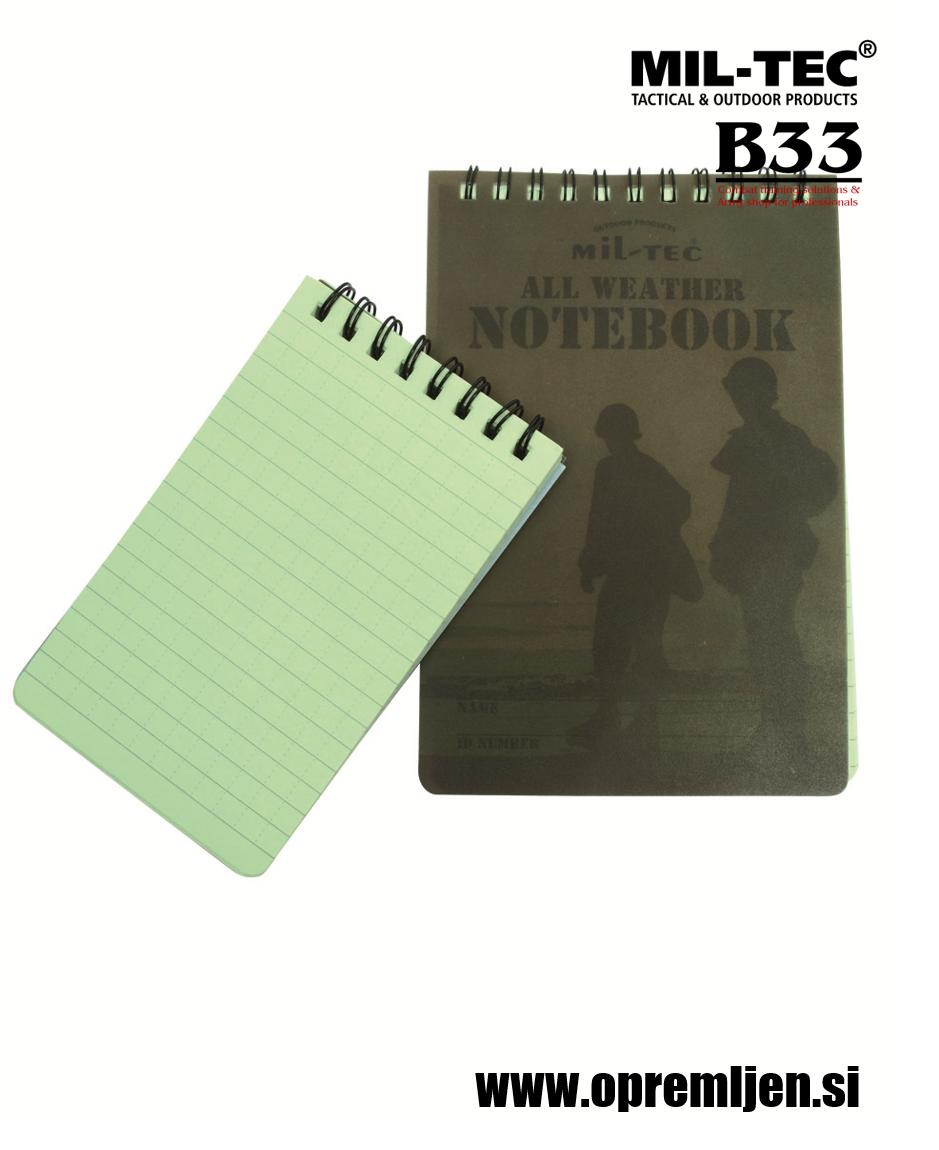 B33 army shop - bloka za pisanje v dežju, beležka za pisanje v dežju MILTEC, by B33 army shop at www.opremljen.si, trgovina z vojaško opremo, vojaška trgovina