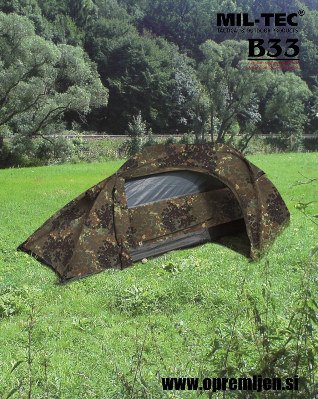 B33 army shop - vojaški šotor za eno osebo flecktarn barva RECOM MILTEC, by B33 army shop at www.opremljen.si, trgovina z vojaško opremo, vojaška trgovina