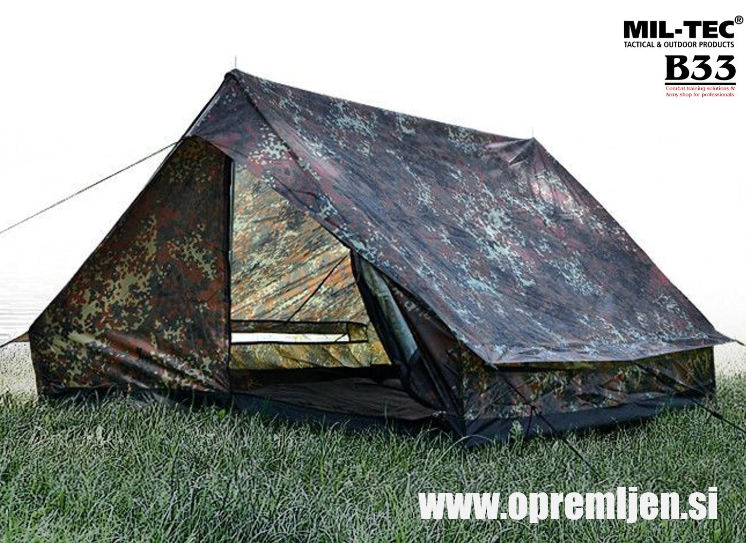 MIL-TEC vojaški šotor za dve odrasli osebi 'MINI PACK SUPER' flecktarn vzorec by B33 army shop at www.opremljen.si
