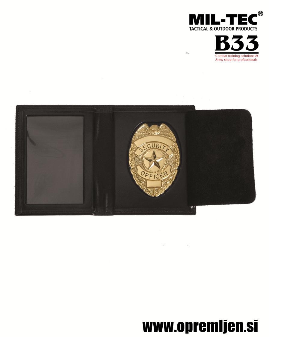 B33 army shop - Usnjeni nosilec identifikacijskega dokumenta z zlato značko security officer MILTEC, MIL-TEC opremite se na www.opremljen.si (trgovina z vojaško opremo, vojaška trgovina)